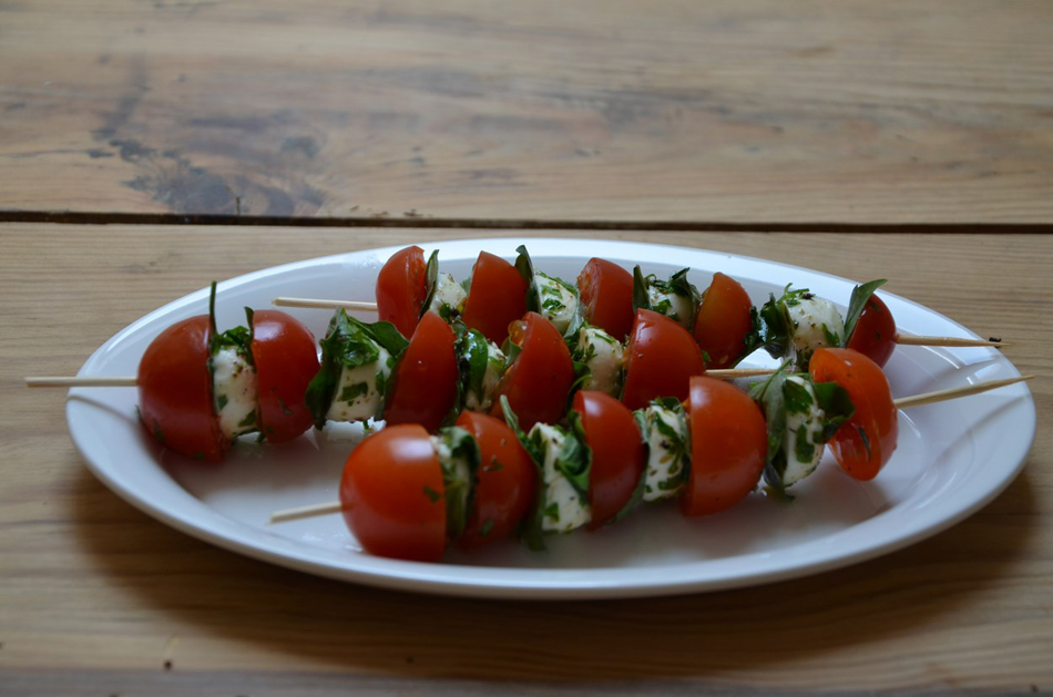 Cherry Tomatoes, Mozzarella and Basil Skewers